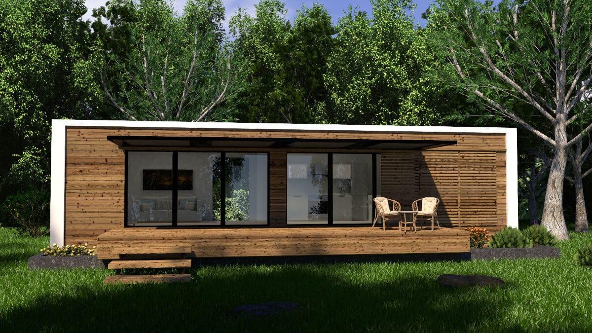 une maison container en bois